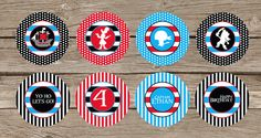 Jake and the neverland Pirates  (Scully and Captain Hook) Party Circles - Cupcake Toppers. $11.00, via Etsy.
