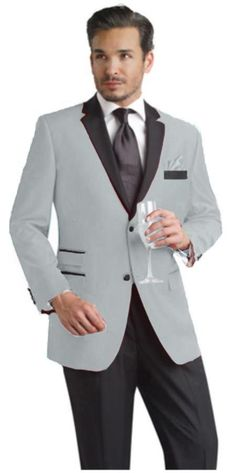Mens Light Grey Two Button Tuxedo. We have collection of Grey Tuxedo with unique design, color and brands.   #GreyTuxedo