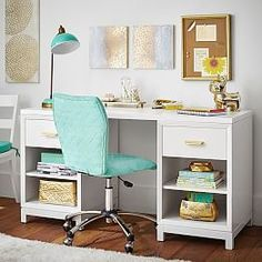 Love the pops of blue in this white desk.