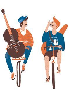 Musicians on Bikes - Boneshaker Magazine by Ilse Weisfelt, via Behance