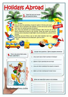 Reading and speaking practice about holidays, and Present Continuous. Students answer the questions about the e-mail and then describe the photo given. It can also be used as a model to write an e-mail. English Vocabulary, English Grammar, Teaching English, Learn English, Mini Reading, English Reading, Reading Comprehension Worksheets, Writing Worksheets, Printable Worksheets
