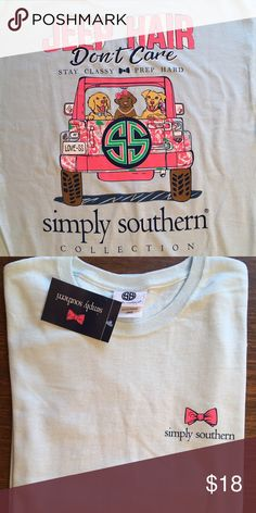Light Blue T-Shirt   NWT Simply Southern light blue short sleeve tee-shirt size L. Super cute with the puppies and the Jeep design on the back. 100% cotton. It was kept in a smoke free home. Simply Southern Tops Tees - Short Sleeve