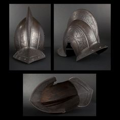 17th Century-German style bergonet helmet with ears.    Engraved with foliages and dragon.    19th Century manufacturing.    On sale on Expertissim.com
