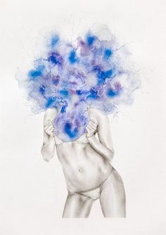 The Ecstasy of Alektra Blue  mixed media on paper  29.5cm x 42cm  2009