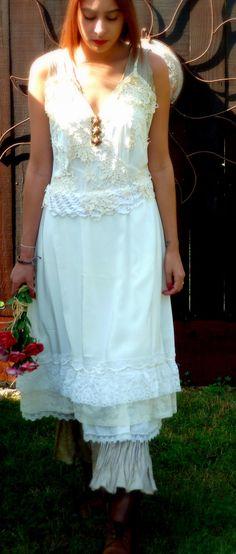 Vintage Peach Slip Wedding Dress, Alternative Bride, Vintage Paris ...