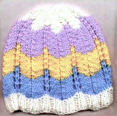 Striped Ripple Hat For Babies By Marilyn Windle - Free Knitted Pattern - (knittingonthenet)