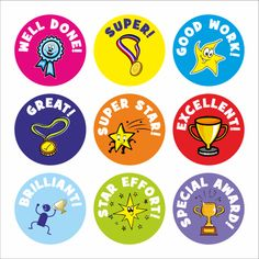 Buy Well Done Praise Stickers from School Stickers. All our products are customizable with your school name. Teacher Stickers, Reward Stickers, Kids Stickers, Printable Stickers, Planner Stickers, Free Printables, Kids Awards, Student Rewards, Award Template