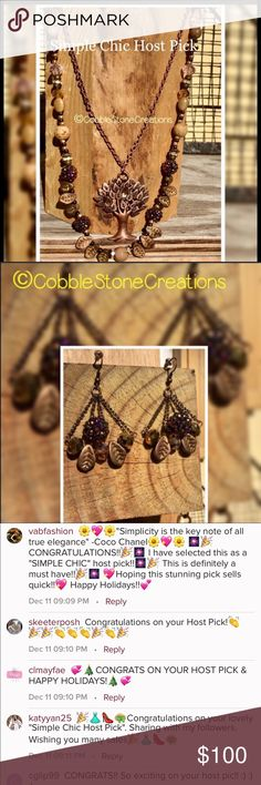 """🦋Host Pick 🦋 Tree of life Necklace & Earrings Gorgeous artisan handmade sparkle living tree necklace and earrings set. Metal parts are zinc alloy which are nickel and lead free. Comes with one pair soft silicone rubber earring backing. 24"""" double strand length,  earrings 2"""" from top of ear wire CobbleStone Creations  Jewelry"""