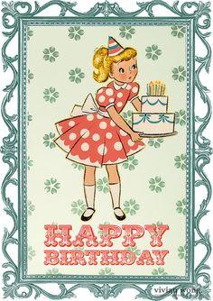 wishing Rachel a very happy birthday! Retro Happy Birthday, Vintage Birthday Cards, Kids Birthday Cards, Happy Birthday Images, Happy Birthday Greetings, Birthday Messages, Birthday Pictures, Vintage Greeting Cards, Birthday Fun