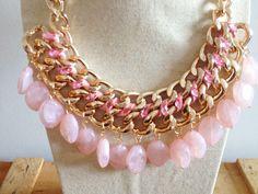 Bisutería : Collar de piedras rosas colgantes pink necklace http://www.elarmarioturquesa.com/es/bisuteria/collar-de-piedras-rosas-colgantes-detail.html