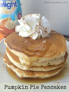 Pumpkin Pie Pancakes made with only 3 ingredients they are so easy to make! Perfect for Fall! #IDelight #PumpkinDelight