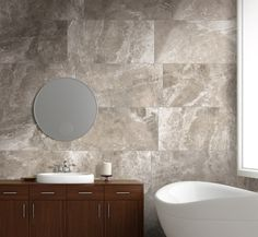A collection of glazed porcelain tile with a travertine pattern, from our Habitat series.