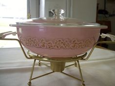 Vintage Pyrex Duchess Pink Gold Casserole with Warmer Chaffing Stand Rare HTF #Pyrex