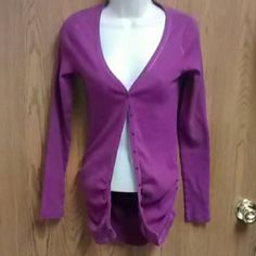 VS Fuchsia Fitted V-Neck Cardigan NWOT. Really nice looking cardigan from Victoria's Secret. Beautiful color. Has side ruching for a fitted look. Size medium. Victoria's Secret Sweaters Cardigans