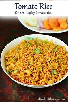 Tomato rice is a super quick delicious one pot spicy rice made with ripe tomatoes, rice, spices & herbs. Serve it with some plain yogurt. Easy Healthy Dinners, Healthy Dinner Recipes, Vegetarian Recipes, Weeknight Dinners, Breakfast Recipes, Rice Recipes, Indian Food Recipes, Curry Recipes, Recipies