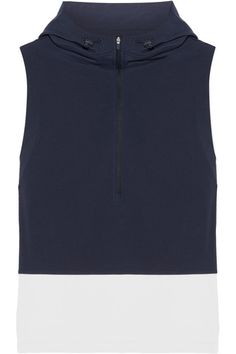 Tory Sport - Hooded Stretch-jersey And Shell Vest - Midnight blue - medium