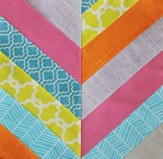 Herringbone String Block - Make a classy and quick quilt block with this pattern for a Herringbone String Block. String quilting provides a simple way to make scrappy quilt patterns and the strip quilt piecing design will give any quilt you use this quilt block pattern in an intricate, but clean appearance. You can start new scrap quilting patterns while cleaning out your leftover fabrics drawer to make individual quilt blocks in the string quilt style that look very professional when…