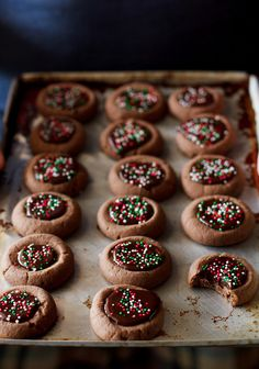 Chocolate thumbprint Christmas cookies. #food #Christmas #cookies