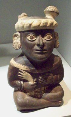 Pre-Columbian ceramic Moche portrait vessel, Peru 100-600 AD