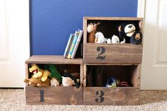Keep toys, shoes, and much more organized with these stacking storage cubbies! They're customize-able and so simple to build!