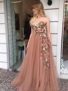 Champagne Party Dress, Appliques Prom Dresses, A-Line Prom Dresses Prom Dresses 2019 Pink Prom Dresses, A Line Prom Dresses, Tulle Prom Dress, Prom Party Dresses, Formal Dresses, Wedding Dresses, Ladies Dresses, Grad Dresses, Long Dresses