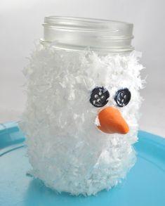 Frozen inspired - Snowman Mason Jar Luminary Ornament with Frosty Snow Mason Jar Snowman, Mason Jar Christmas Crafts, Christmas Crafts To Make, Mason Jar Crafts, Holiday Crafts, Crafts For Kids, Diy Crafts, Holiday Ideas, Tween Craft