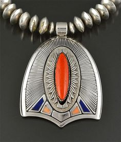 Silver & Coral Necklace by Gibson Nez (Navajo)