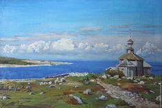 www.agafonova33.livemaster.ru Царство небесное - голубой, соловки, небо, облака, солнце, белое море, белый, зеленый