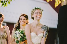 23 Beautiful Brides Who Showed Off Their Tattoos With Pride. My tattoos will be beautiful even on my wedding day. <3