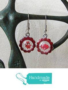 Vendido. Pendientes transparentes con esmalte y flores color granate. de Joyería y Bisutería artesanal Oscurarosa https://www.amazon.es/dp/B01N5E9G0X/ref=hnd_sw_r_pi_awdo_WYxtyb1DFWK4K #handmadeatamazon