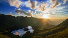 mountain lake sunrise wallpaper hd