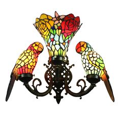 Tiffany Sconce European Pastoral Retro Style Glass Parrot and Glass Flowers Shade Bedroom Living Room Dining Room Light 3 Lights Chandelier Table Lamp, Glass Chandelier, Wall Lamps, Stained Glass Light, Stained Glass Crafts, Bedside Lighting, Dining Room Lighting, Tiffany Pendant Light, Contemporary Wall Lights
