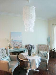 How often do you see a DIY chandelier? Or rather, how often do you see a DIY chandelier that looks like THIS? Chandeliers, Capiz Shell Chandelier, Rustic Chandelier, Diy Pendant Light, Diy Light, Shell Pendant, Pendant Lighting, How To Make A Chandelier, Unique Lighting