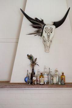 Cow Skull in Living room Interior.