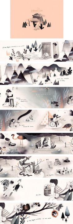 Identité (Identity) by Marianne Ferrer, via Behance Children's Book Illustration, Graphic Design Illustration, Digital Illustration, Edition Jeunesse, Art Graphique, Identity, Illustrations And Posters, Book Design, Book Art