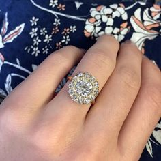 New Bond Street is an incredible Victorian era yellow gold cluster ring centering a EGL certified Old European Cut diamond. Hexagon Engagement Ring, Engagement Rings, The Desire Map, Golden Goddess, Bond Street, Diamond Cluster Ring, Our Wedding, Feminine, Victorian