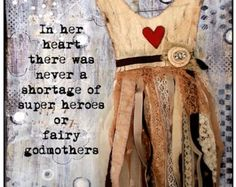Inspirational Mixed Media Greeting Card, Godmother Dress
