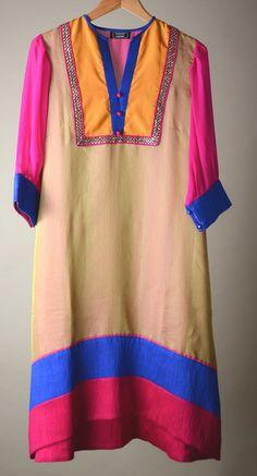 Ivory blue n pink Chanderi Raw Silk
