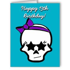 Girly Starry Eyed Skull with a Purple Bow Greeting Card  Cards skulls, skull, girly skull, girly skulls, purple bow, purple and teal, happy 13th birthday, happy birthday, for girls, for teens, stars, starry eyes, bows, greeting card, cards
