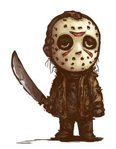 Jason Voorhees as never seen before! Jason Voorhees in stylized urban vinyl form! This Jason Voorhees Movie Pop! The stylized vinyl figure has a rotating head and comes in a displayable window box. Horror Cartoon, Horror Icons, Cartoon Art, Cartoon Drawings, Creepy Drawings, Creepy Art, Arte Horror, Horror Art, Horror Movie Characters