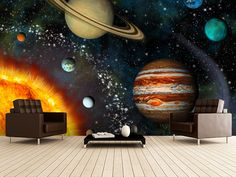 3D Solar System wall mural room setting