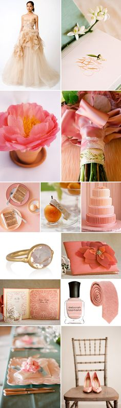 peach, pink and coral wedding color palette and inspiration board via junebugweddings.com
