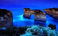 A place of blue, lights, and carefully carved cliffs