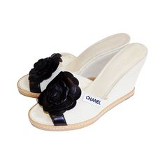 f393a2ffd180 Chanel Summer wedge sandals with black camellia sz 38