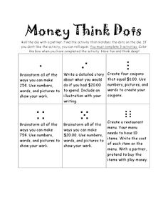"""I love using """"Think Dots"""" choice boards in my classroom! The activities on each choice board are differentiated by levels and interests. Differentiation In The Classroom, Differentiated Kindergarten, Differentiated Instruction, Teaching Math, Teaching Tools, 2nd Grade Classroom, 3rd Grade Math, First Grade, Grade 3"""