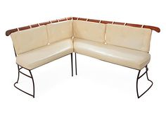 "2-Piece  Corner Settee - ""Mid-Century Modern two-piece yellow leather corner settee."""