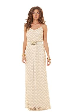 FINAL SALE! Every Lilly girl needs a flattering maxi dress. The Deanna is a style that you already love and now it's a long gold lace dress. We love the versatility of this dress - especially on vacation. It's both dressy and casual and can be styled as such.