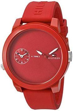 Tommy Hilfiger Men's 'Denim' Quartz Plastic and Rubber Watch, Color:Red