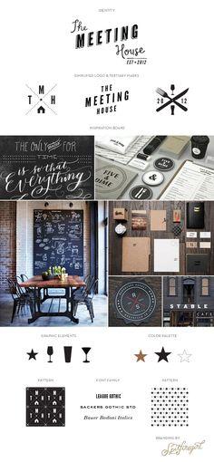 Visual Identity for The Meeting House. (Design: Spitfiregirl Design) #vectorart #vectorinspiration #restaurantgraphics