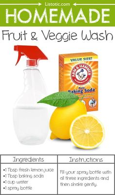 Baking Soda 300544975133837061 - Homemade Fruit And Veggie Wash — 22 Everyday Products You Can Easily Make From Home (for less!) These are all so much healthier, too! Source by nadeang Homemade Cleaning Products, Cleaning Recipes, House Cleaning Tips, Green Cleaning, Natural Cleaning Products, Cleaning Hacks, Cleaning Checklist, Hacks Diy, Cleaning Supplies